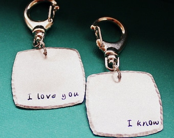 I Love You / I Know Key Chain Pair - Personalized - Hand Stamped Key Ring - Gift for Couples