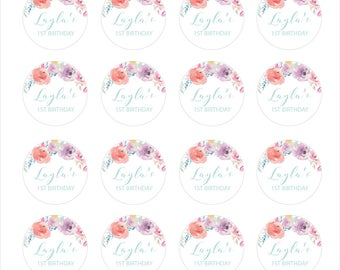 Floral 1st Birthday Cupcake Toppers Printable
