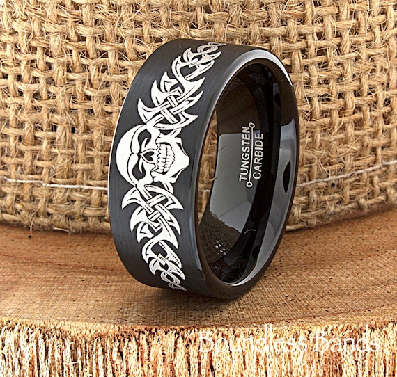 Skull Wedding Band Skull Ring Biker Wedding Band Mens Tungsten