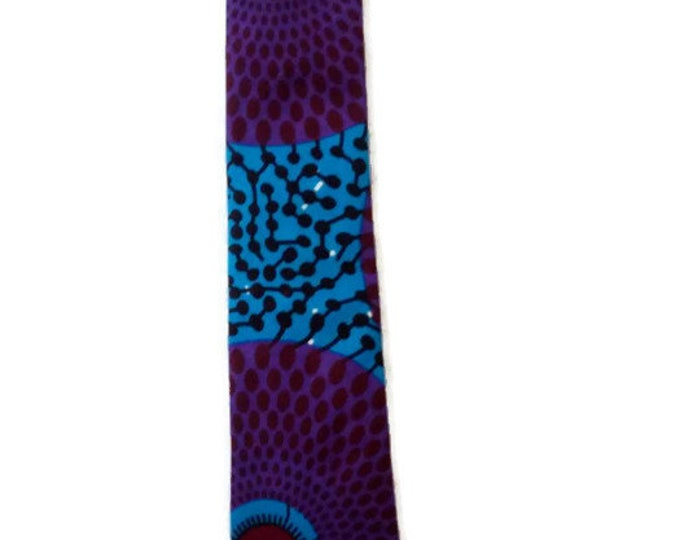 Mens Purple And Blue  African Print Necktie, Pocket Square And Storage Pouch Set, Ideal Birthday, Fathers Day Gift