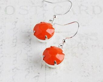 Orange Dangle Earrings on Silver Plated Hooks, Bright Orange Earrings, Round Rhinestones, Autumn Jewelry