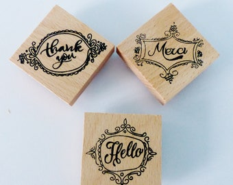 3 rubber stamp wooden thank you Merci hello stamp stamp
