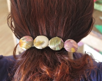 Large barrette 10cms 'Adelaide' silk pastel buttons