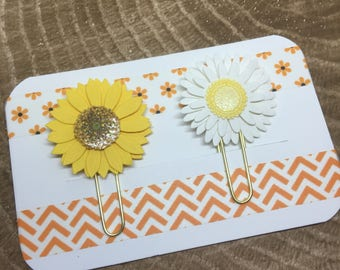 Paper Flowers: Daisy + Sunflower paperclip set   Planner Accessories   Bible Journaling   Paper Clip   Bible Bookmark