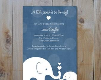 Elephant Baby Shower Invitation, Little Peanut Elephant and Momma, Navy, Printable Invitation, Item #10275