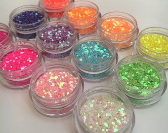 Rainbow Set of TWELVE glitter pots