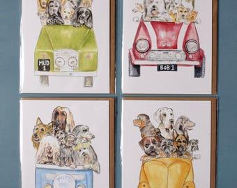 Pack of 4 assorted design greetings cards .landrover,mini cooper,vw camper van,vw beetle. collie,westie,bobtail,yorkie,labrador,retriever