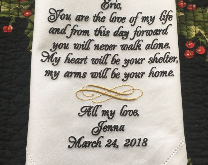 Groom from Bride Wedding Handkerchief Gift, Personalized Wedding Handkerchief, Groom Handkerchief, Father of the Bride, Groom Gift, Bridal