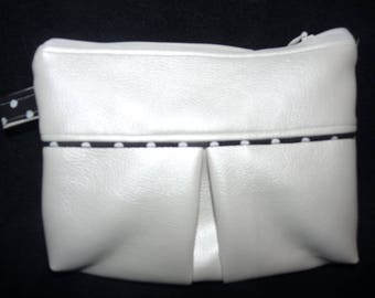 Pearl White pouch for storing makeup, jewelry, medicines