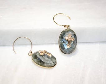 Gold plated earrings with cross labradorite stone
