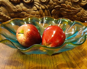 Hand Blown Glass Fruit Bowl!!!