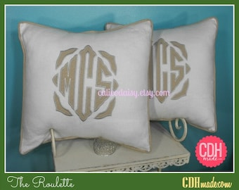 SET OF 2 - The Roulette Applique Framed Monogrammed Pillow Cover - 16 x 16 square