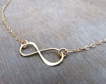 Infinity Necklace, Gold Bronze Infinity Charm, 14K Gold FIlled Chain by E. Ria Designs
