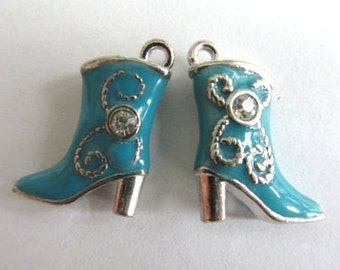 4 Pieces Blue Enamel COWGIRL BOOT Charm Pendants 3-D