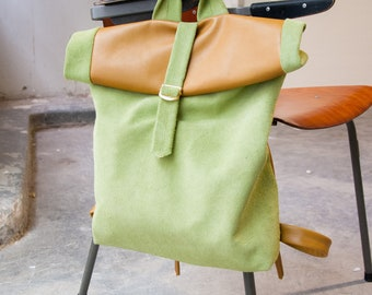 Leather backpack / Handmade Leather Bag /  pastel leather bag / cognac leather bag
