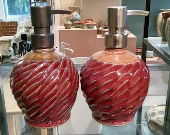 Soap Dispenser, Lotion Pump Short Design with Stainless Steel Dispenser Pump....Red & Earthtone - Ready to Ship!