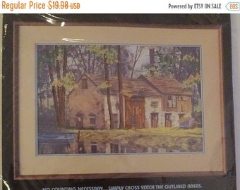 20% OFF SALE Vintage Dimensions No Count Cross Stitch Kit Sunlit Reflections 3625 rustic cabin FREE Shipping Usa