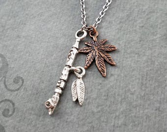 Peace Pipe Necklace SMALL Ceremonial Pipe Necklace Tobacco Pipe Charm Necklace Pot Leaf Necklace Marijuana Necklace Stoner Gift Weed Jewelry