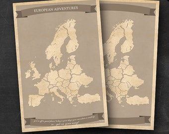 "European Travel Maps - Printable Europe Travel Map Instant Download - 24""x36"" EU Wall Art - 2 pack - With Text or Add your own text"