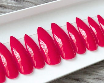 Juicy Apple Red • Press on Nails • Any Shape or Size • Matte or Glossy • Instant Acrylic Nails