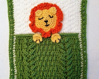 Baby Lovey Security Blanket / Green and White Blankie with Jungle Lion / Baby Shower Gift