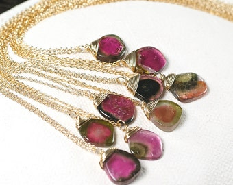 Watermelon tourmaline slice necklace in 14k gold filled, Sold Individually, Minimalist jewelry, October birthstone