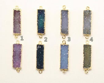 4 Color Choice 9x25mm Druzy Rectangle Bar Double Bail Connector Pendant with Gold Electroplated Edges