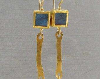 Labradorite Gold Earrings - 24k Gold Earrings with Labradorite -  Solid Gold Earrings