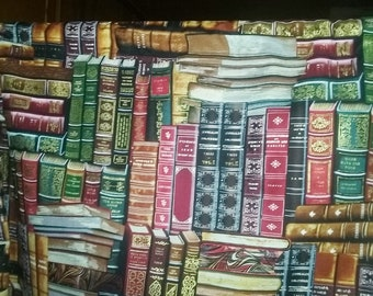 """Book Lover Print Valance or Panel Cotton Library den Print 12"""" 14"""" 18"""" 24' 32"""" Lined or Unlined"""