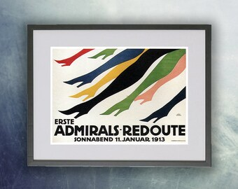 1913 Admirals Redoute Vintage Poster Print
