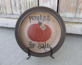 Primitive Fall Autumn Pumpkins For Sale Pumpkin Hand Painted Decorative Plate GCC6676