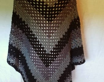 """Crocheted Shawl """"Nightshade"""" Wrap Cover Black Gray Charcoal Ready To Ship RTS"""