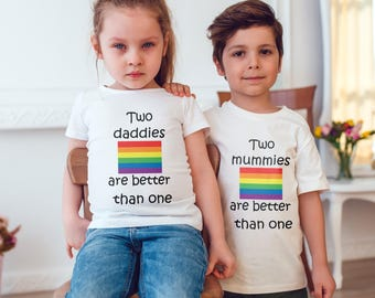 Gay pride two mummies/daddies T-Shirt, Childrens Toddlers T Shirt Top.