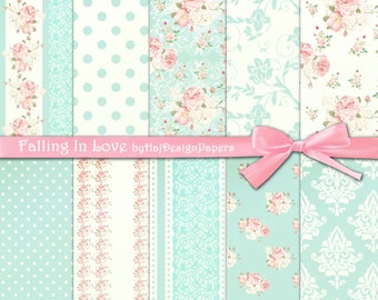 "Shabby chic digital paper : ""FALLING IN LOVE"" pink and blue digital paper in shabby chic style, rose digital paper, floral digital paper"