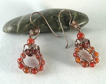 Carnelian Sacred Spiral Earrings
