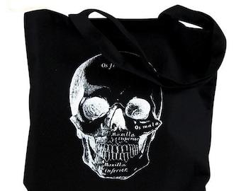 Skull Tote Bag  - Anatomical Skull  Illustration on a Black Bag