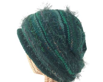 Knit Slouchy Green Wool Hat Rolled Brim Cap Hand Knit Hat Mohair Slouchy Hat Knit Winter Hat Stocking Cap Emerald Green Knit Haat