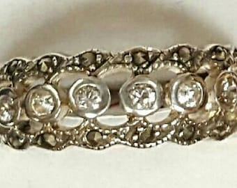 Vintage Ring, Sterling Silver CZ and Marcasite Band, Size 7.75, Silver Gemstone Jewelry, Alternative Wedding Band, Very Beautiful!