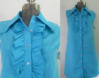 Blue Sleeveless Shirtdress With Ruffles // 1970s No Iron Ruffled Day Dress New With Tags Deadsock
