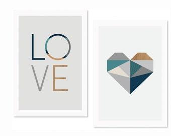 Love and Heart (Blues) Nursery art, Nursery decor,kids art, kidsroom art, modern nursery decor,love print, boys art,boysroom art, art prints