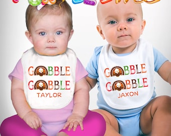 Gobble Gobble - Thanksgiving - Boys / Girls - Personalized with Name