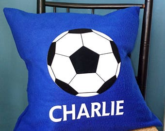 Football personalised cushion - personalized - boy's bedroom - gift for soccer fan - gift for football fan - football nursery decor