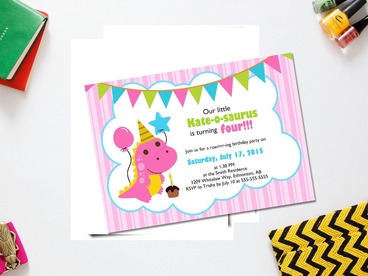Dinosaur girl birthday invite girl dinosaur birthday
