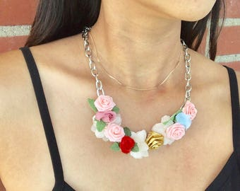 Floral Chain Necklace. Fairy Fantasy Necklace.  Fairy tale necklace. Festival/Bohemian/Vintage style.