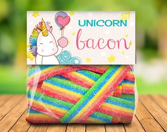 Unicorn Bacon Treat Bag Topper -Unicorn Birthday,Rainbow Birthday,Magical Party, Self-Editing | DIY Editable Text INSTANT DOWNLOAD Printable