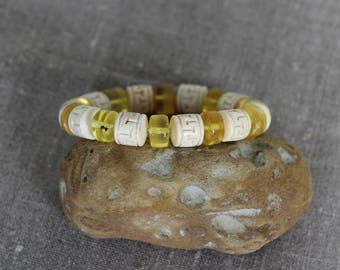 Amazing Exclusive Handmade Bracelet from selected Baltic Amber and animal horn. Sale - 33%!