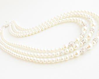 Multi Strand Pearl Necklace, Art Deco Bridal Necklace, Wedding Necklace, Pearl Bridal Necklace, Pearl Rhinestone Necklace, Art Deco Bridal