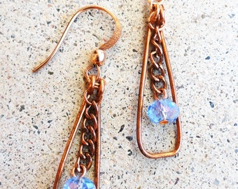 Light Blue Crystal and Copper Swing Earrings Wire-wrapped Handmade Dangle Beaded Earrings By Distinctly Daisy