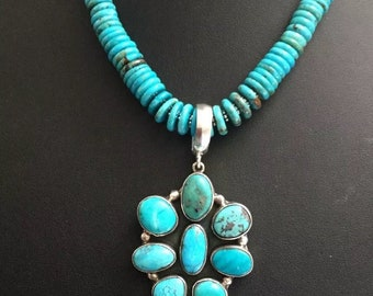 Sterling Silver Turquoise Bead Necklace Turquoise Cluster Pendant C Yazzie