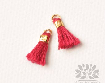 T010-BD// Burgundy Tiny 10mm Tassel, 6 pcs